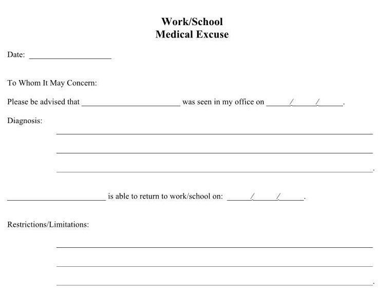 using a fake doctors note template for work or school