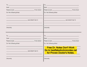 free printable doctor's note