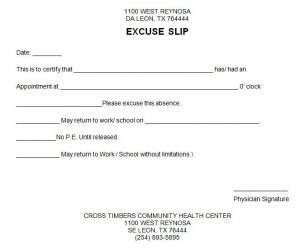 a fake doctors excuse slip